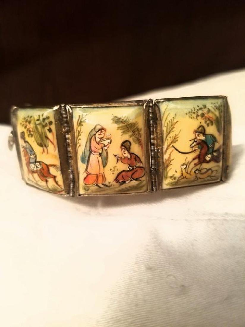 Antique Hand Painted Persian 8 Panel silver bracelet