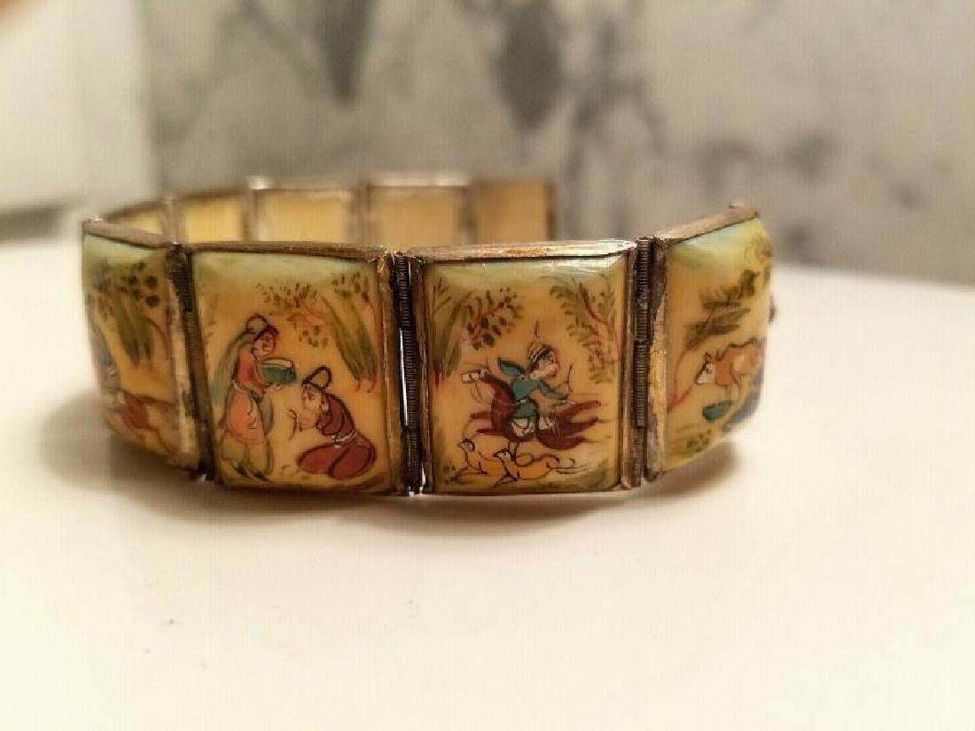 Antique Hand Painted Persian 8 Panel silver bracelet - 3