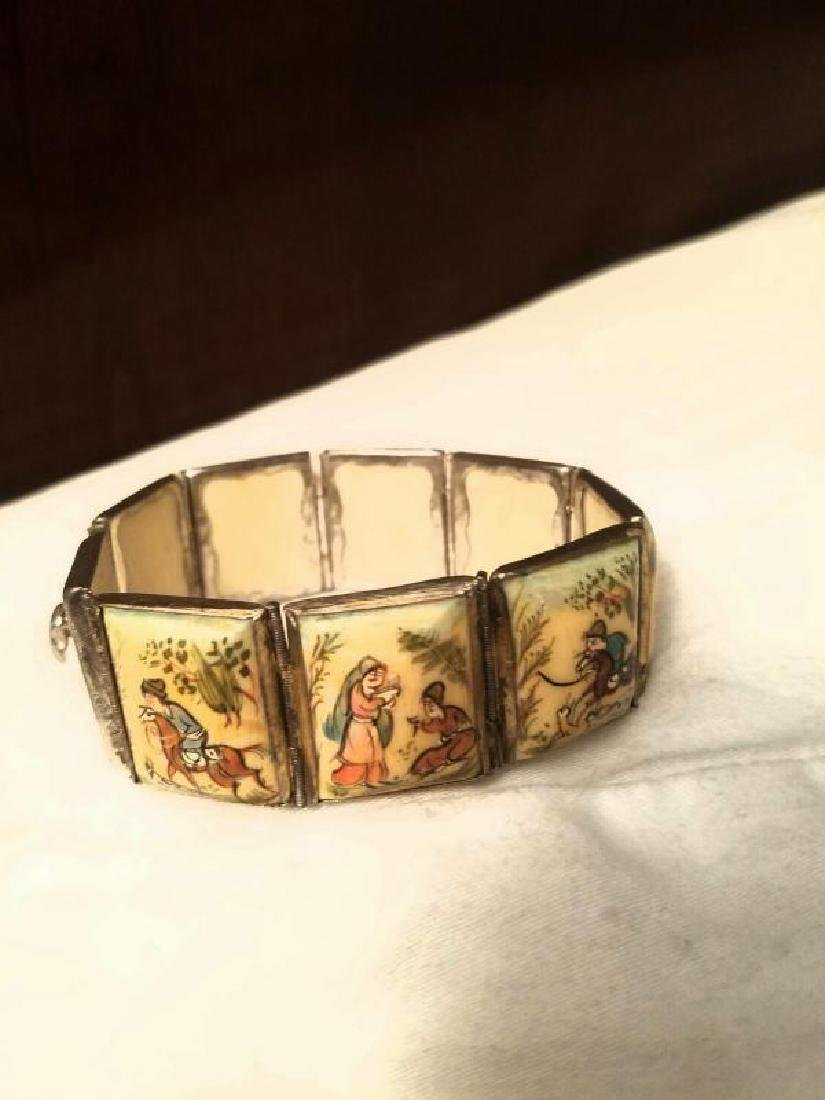 Antique Hand Painted Persian 8 Panel silver bracelet - 4