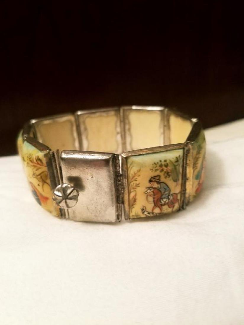 Antique Hand Painted Persian 8 Panel silver bracelet - 8