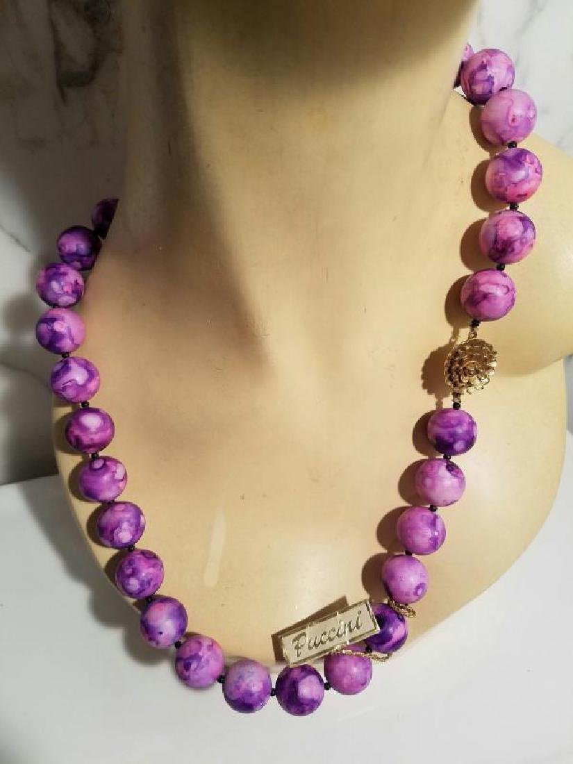 Vtg 1960's Puccini antique Resin long string purple - 6