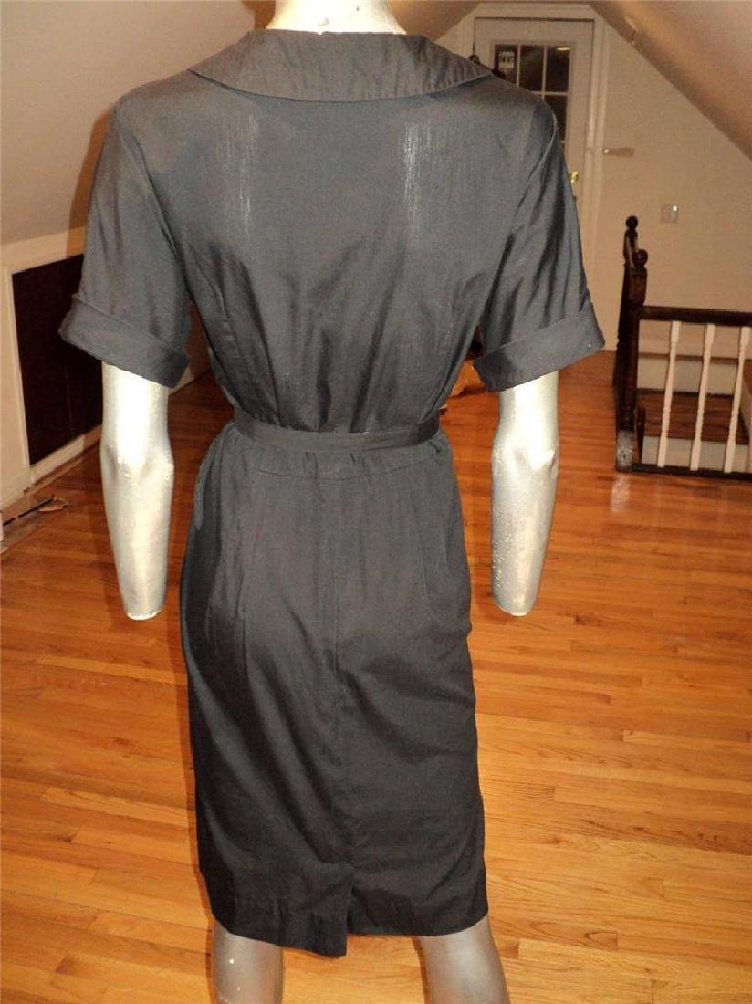 Vintage 40s Black Buttoned Front Hourglass Dress with - 10