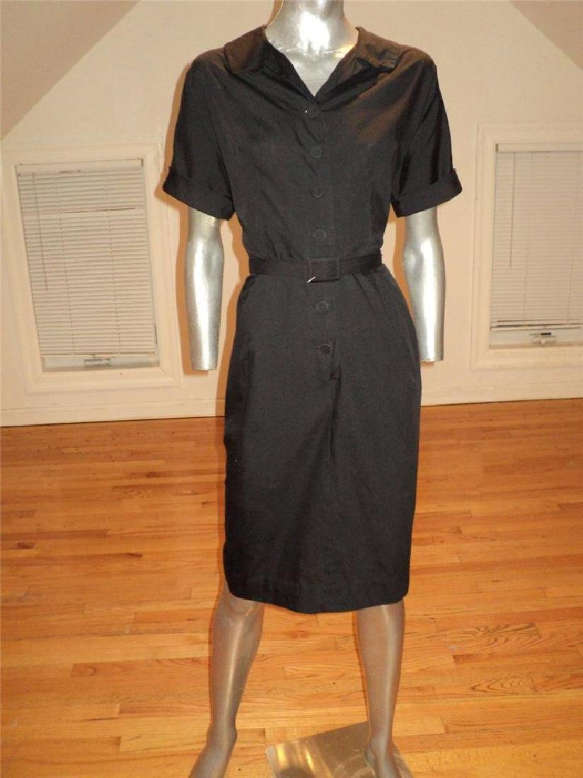 Vintage 40s Black Buttoned Front Hourglass Dress with