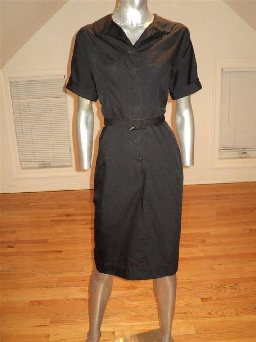 Vintage 40s Black Buttoned Front Hourglass Dress with - 2
