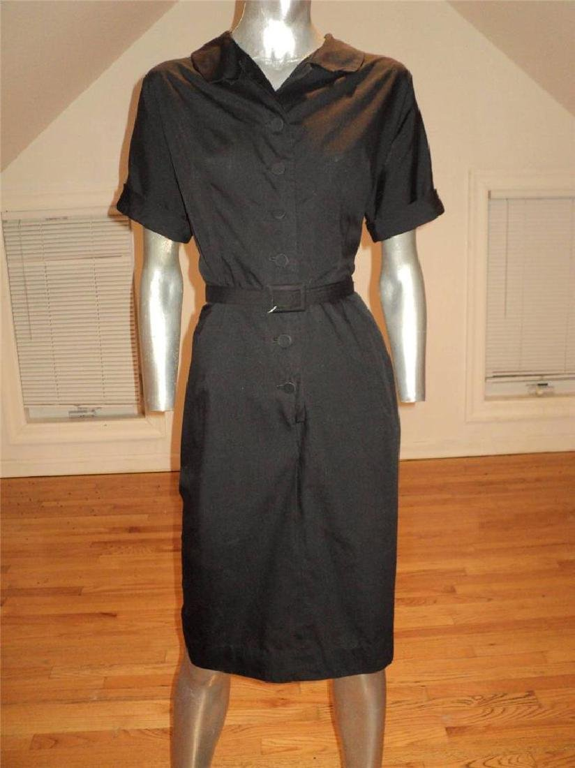 Vintage 40s Black Buttoned Front Hourglass Dress with - 3