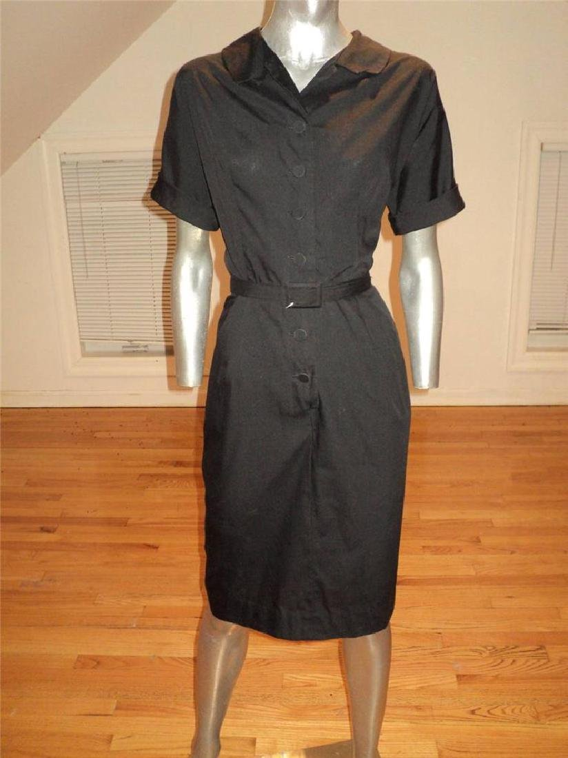 Vintage 40s Black Buttoned Front Hourglass Dress with - 4