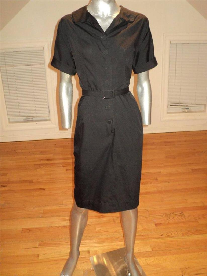 Vintage 40s Black Buttoned Front Hourglass Dress with - 5