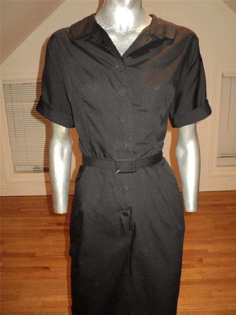 Vintage 40s Black Buttoned Front Hourglass Dress with - 6