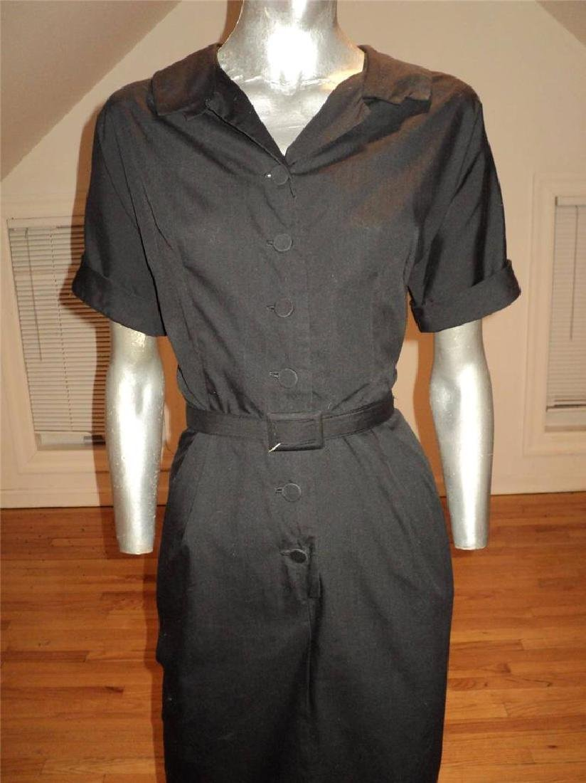 Vintage 40s Black Buttoned Front Hourglass Dress with - 7