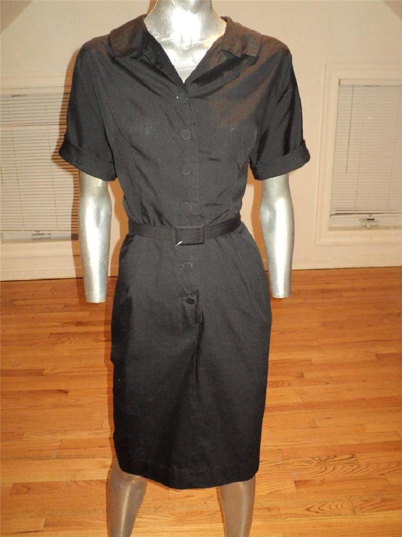 Vintage 40s Black Buttoned Front Hourglass Dress with - 8