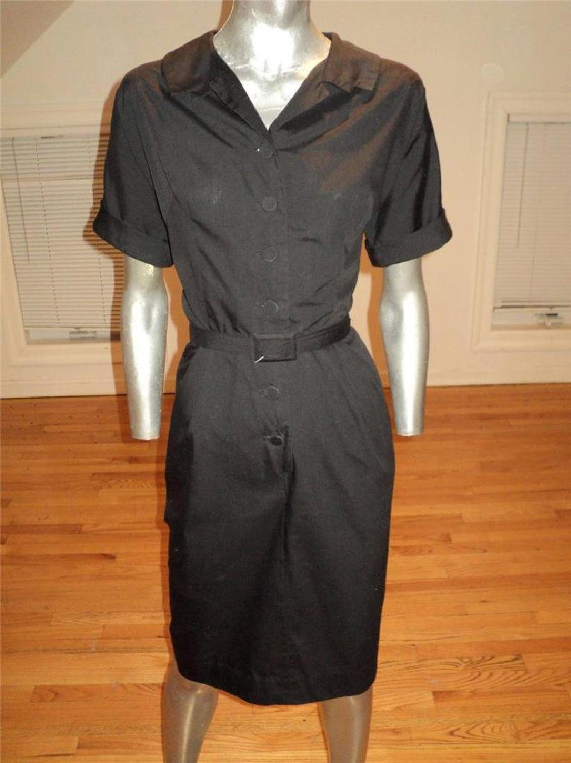 Vintage 40s Black Buttoned Front Hourglass Dress with - 9