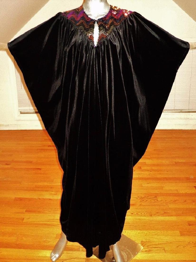 Vintage 1980's Velour Caftan Robe embellished colored - 2