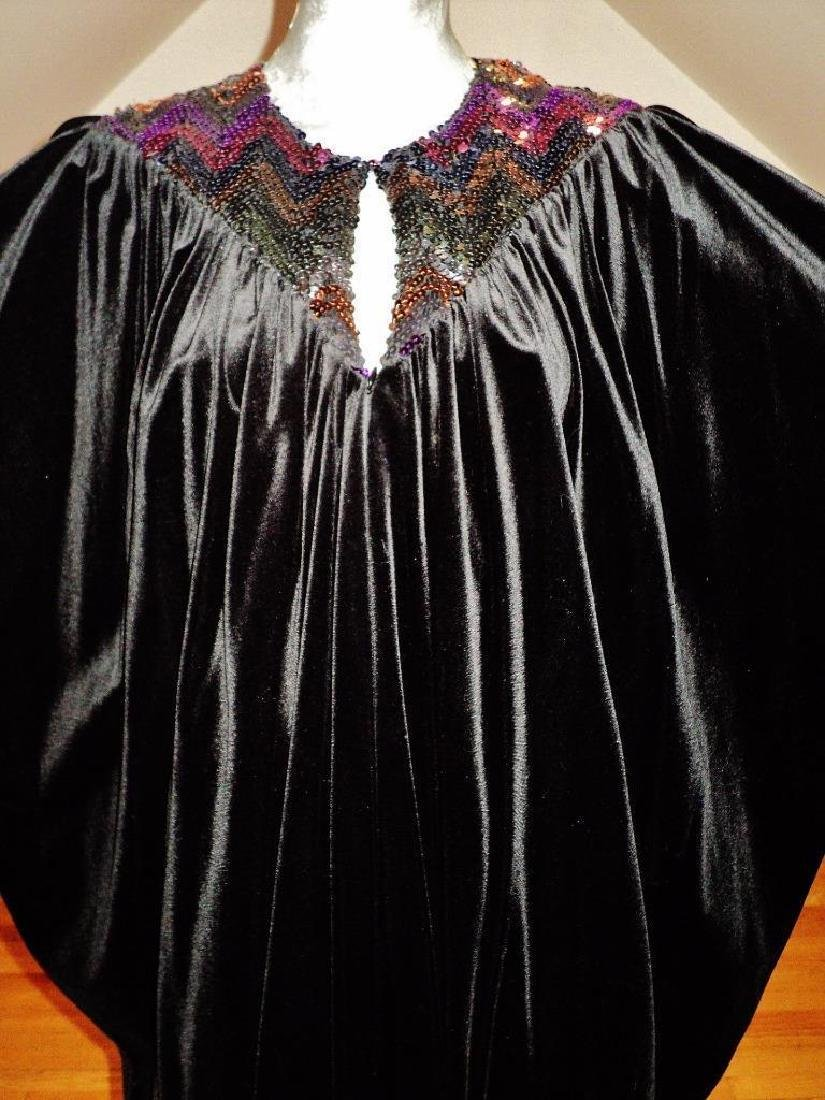 Vintage 1980's Velour Caftan Robe embellished colored - 3