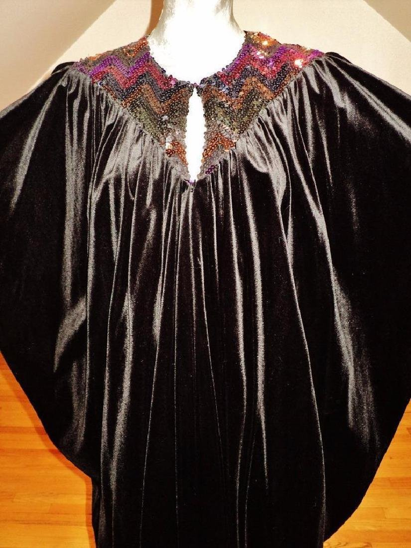Vintage 1980's Velour Caftan Robe embellished colored - 7