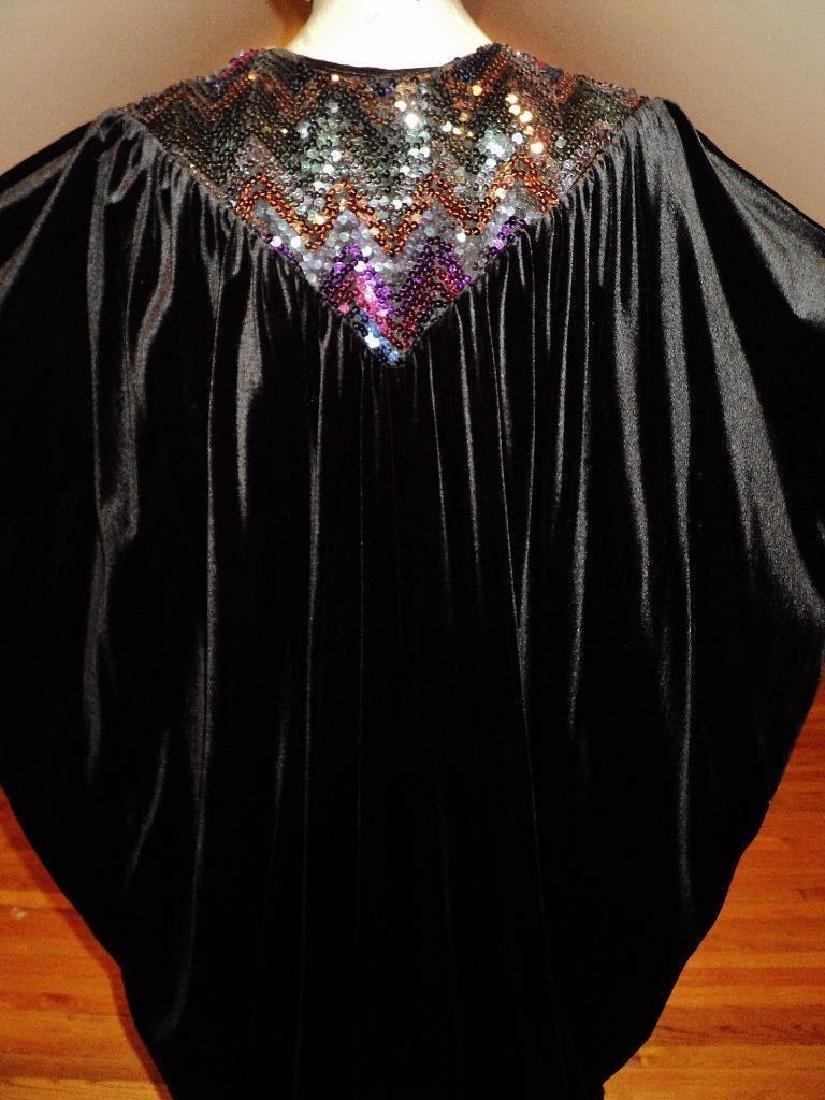 Vintage 1980's Velour Caftan Robe embellished colored - 8