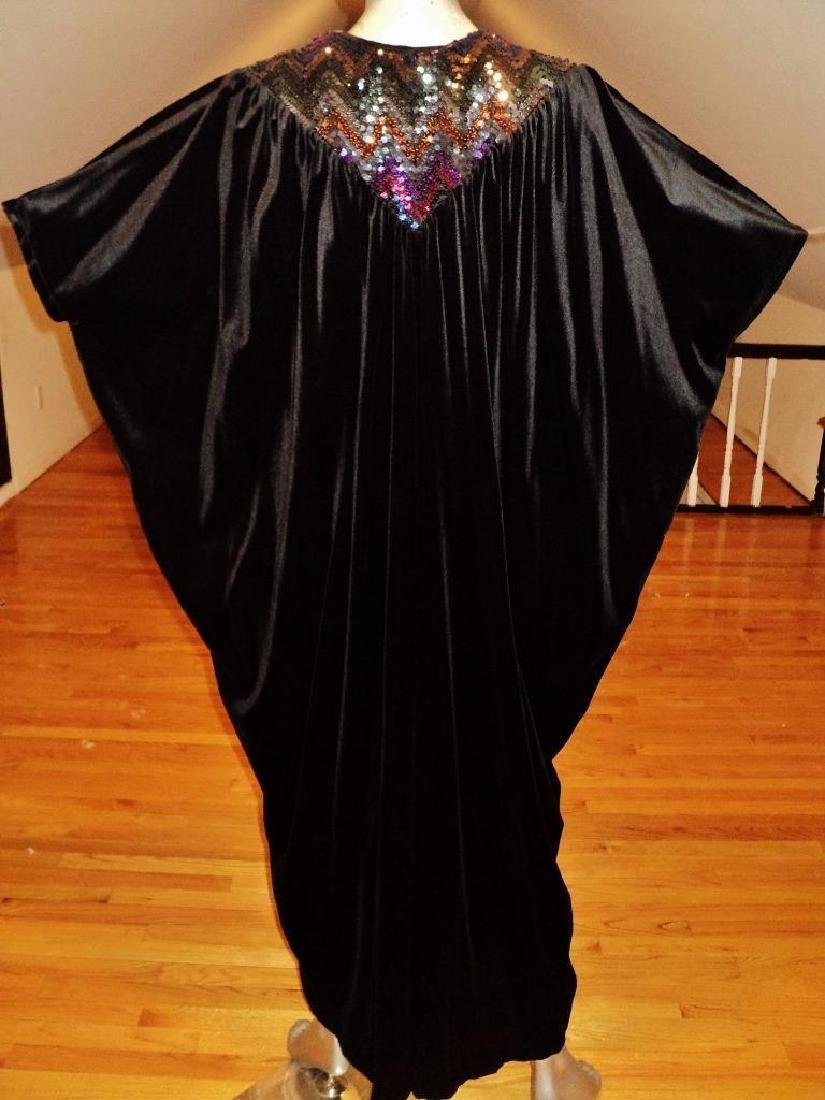 Vintage 1980's Velour Caftan Robe embellished colored - 9