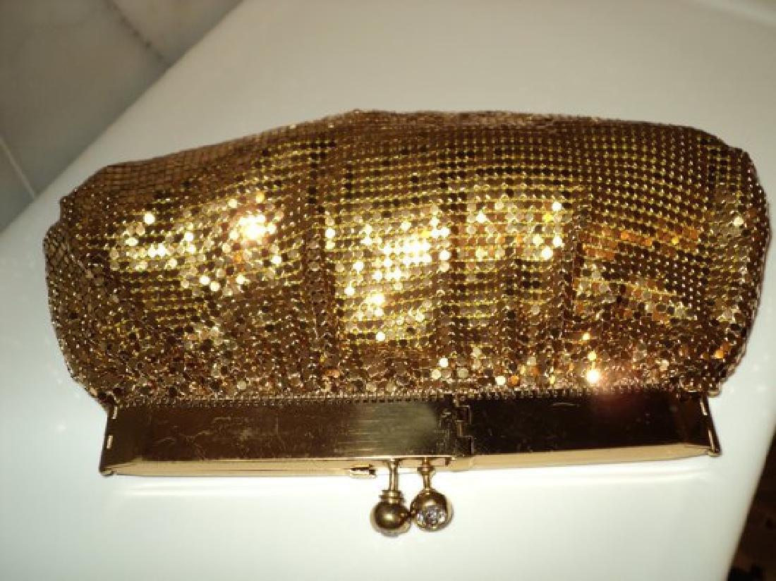 Vtg Gold Mesh evening handbag , purse with hinge and - 2