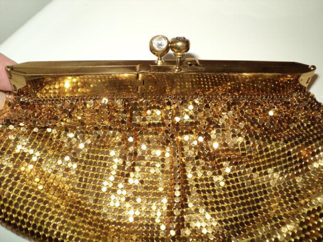 Vtg Gold Mesh evening handbag , purse with hinge and - 3