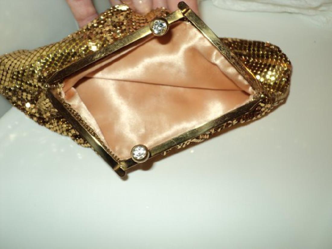 Vtg Gold Mesh evening handbag , purse with hinge and - 4