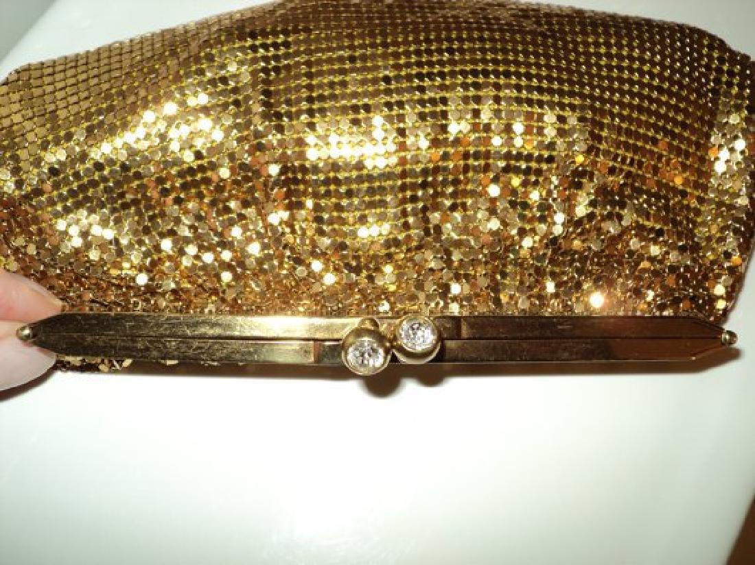 Vtg Gold Mesh evening handbag , purse with hinge and - 5