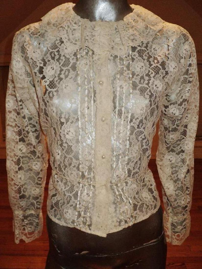 Vintage 1970's all lace poet blouse ruffles pearl
