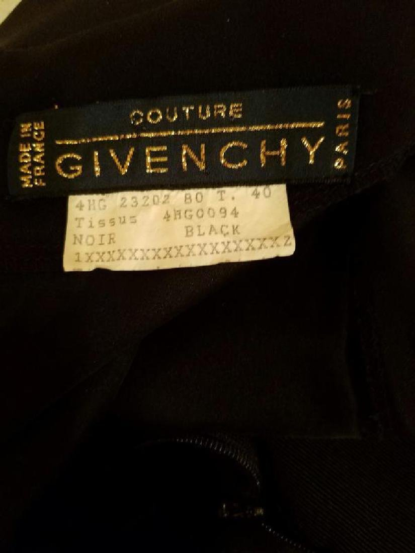 Vtg COUTURE GIVENCHY Empire black gown Bow Sash - 2