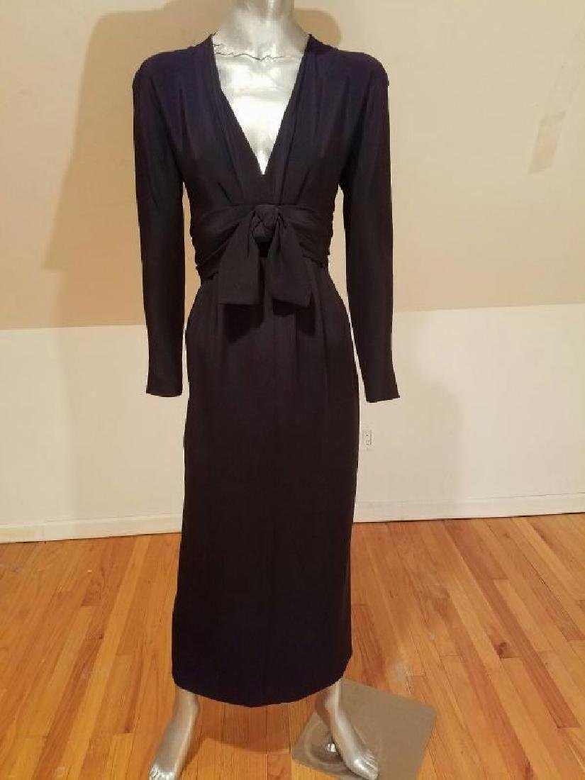 Vtg COUTURE GIVENCHY Empire black gown Bow Sash - 3