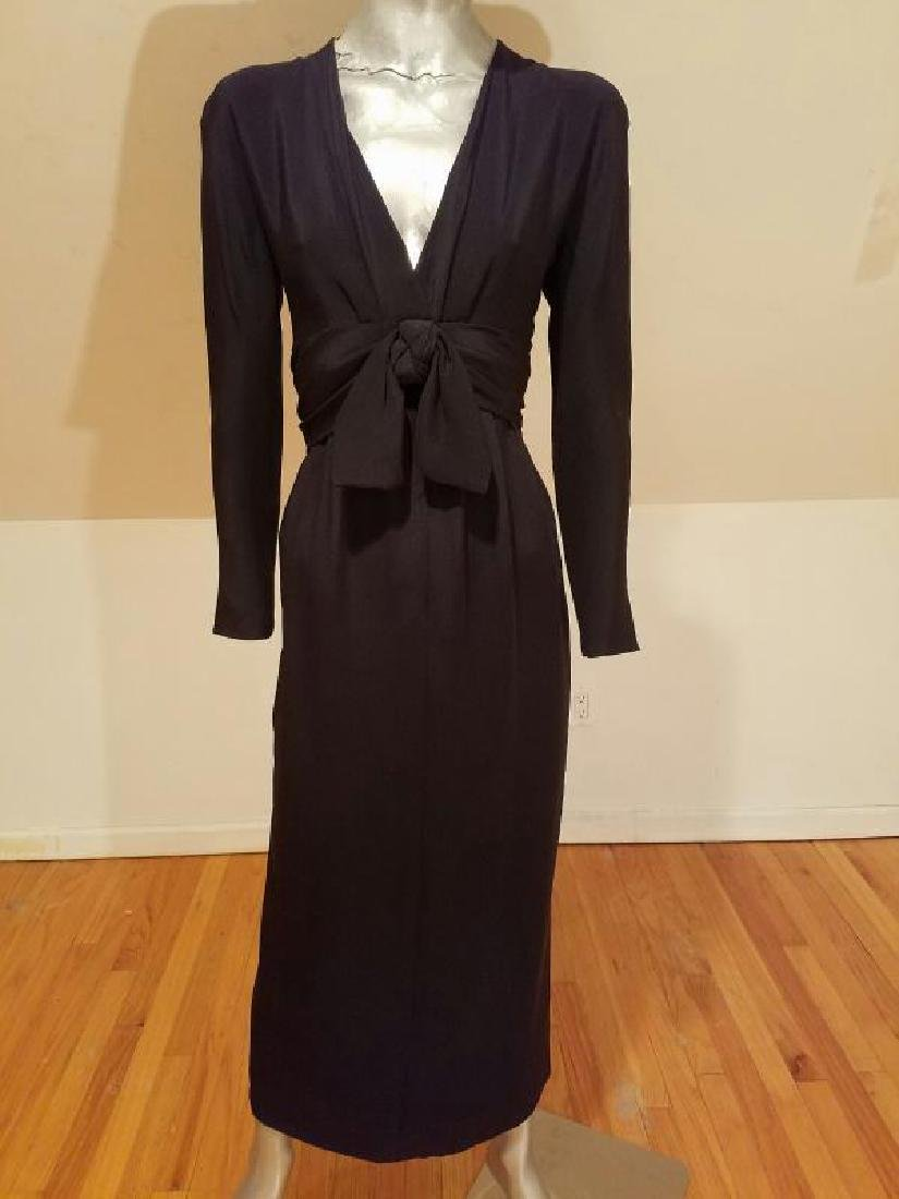 Vtg COUTURE GIVENCHY Empire black gown Bow Sash - 4