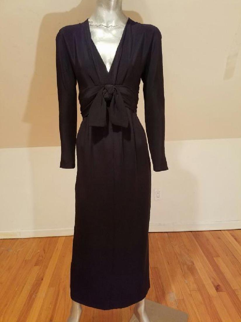 Vtg COUTURE GIVENCHY Empire black gown Bow Sash - 5