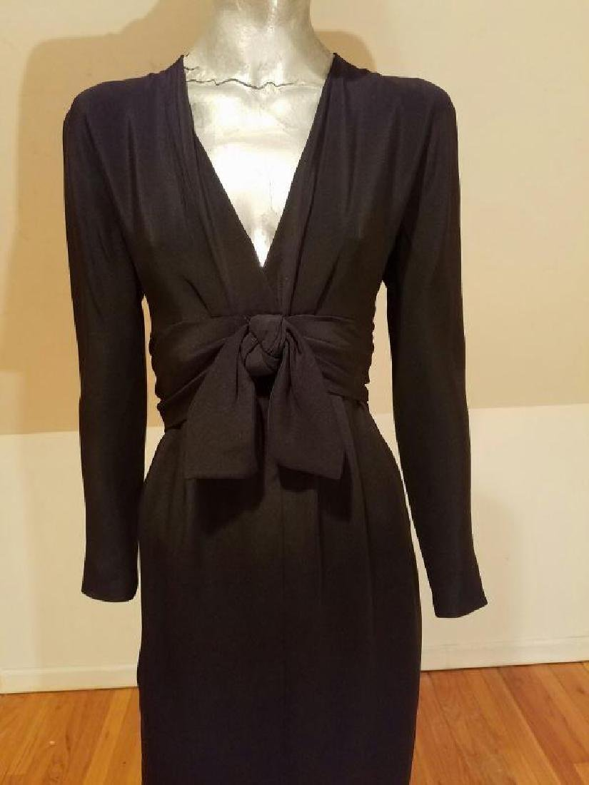 Vtg COUTURE GIVENCHY Empire black gown Bow Sash - 6