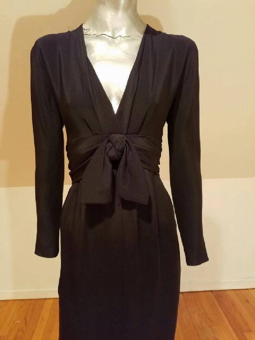 Vtg COUTURE GIVENCHY Empire black gown Bow Sash - 7