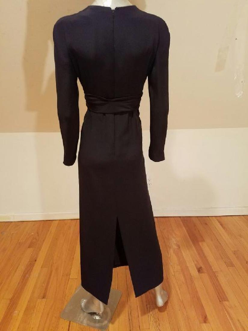 Vtg COUTURE GIVENCHY Empire black gown Bow Sash - 8