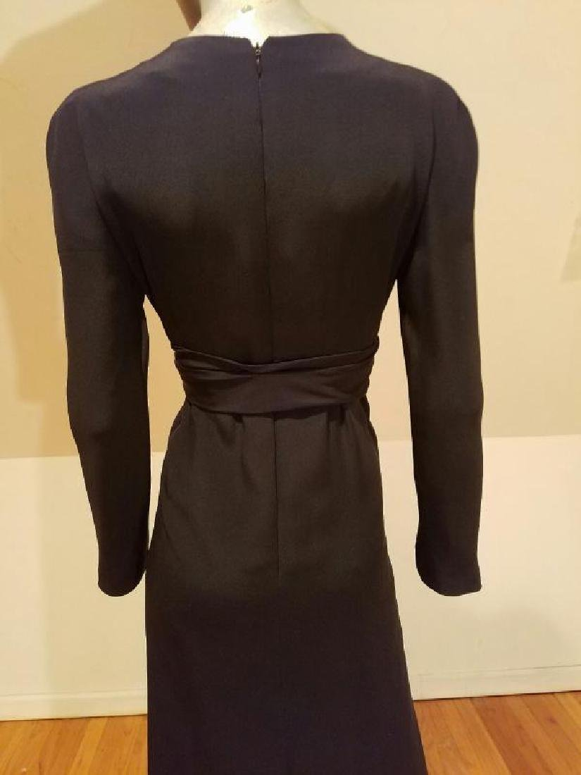 Vtg COUTURE GIVENCHY Empire black gown Bow Sash - 9