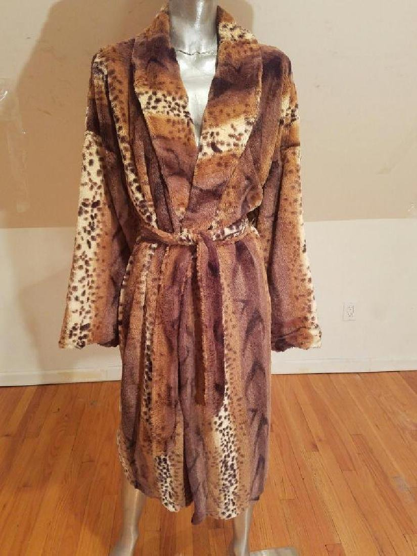 Vtg Animal Print Tigress faux fur full length coat