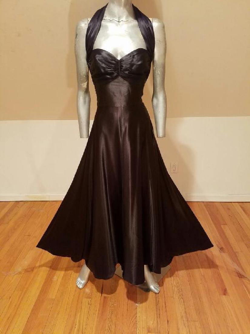 Vtg Norma Kamali Glam satin Pin- Up Gown