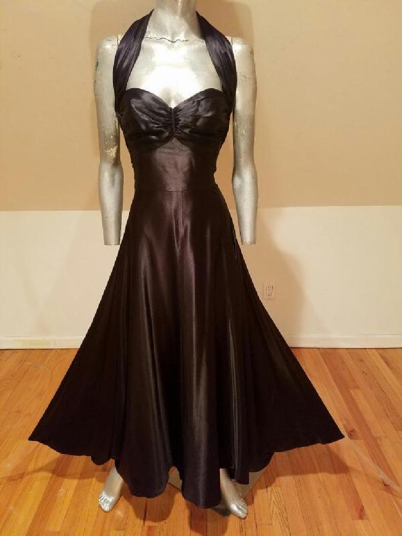 Vtg Norma Kamali Glam satin Pin- Up Gown - 3