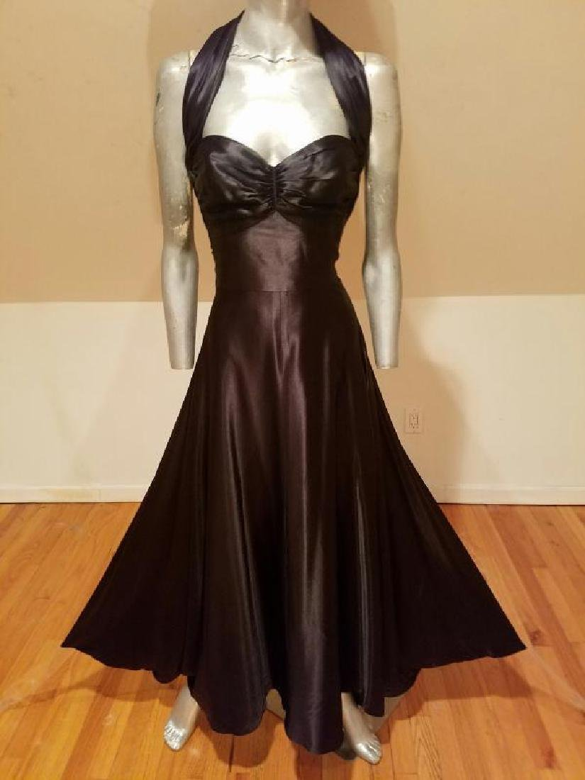 Vtg Norma Kamali Glam satin Pin- Up Gown - 4