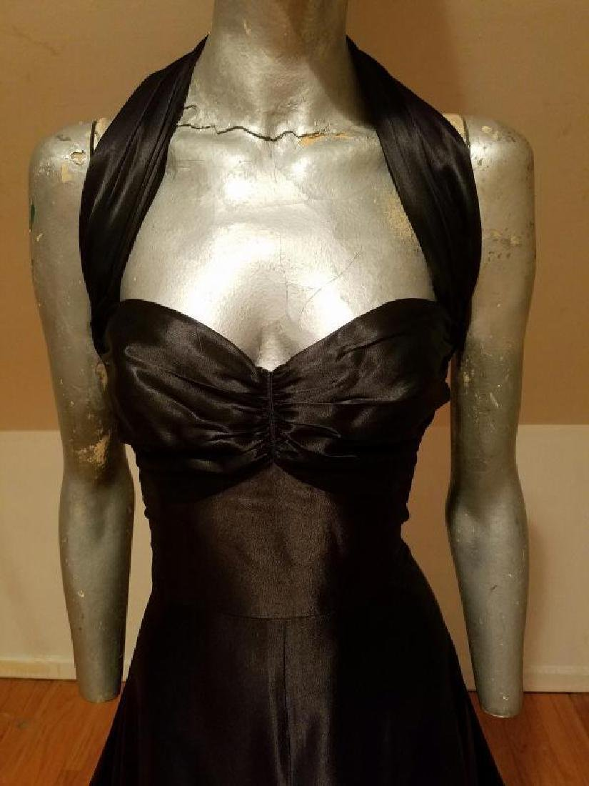 Vtg Norma Kamali Glam satin Pin- Up Gown - 5