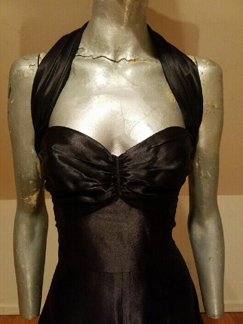 Vtg Norma Kamali Glam satin Pin- Up Gown - 9