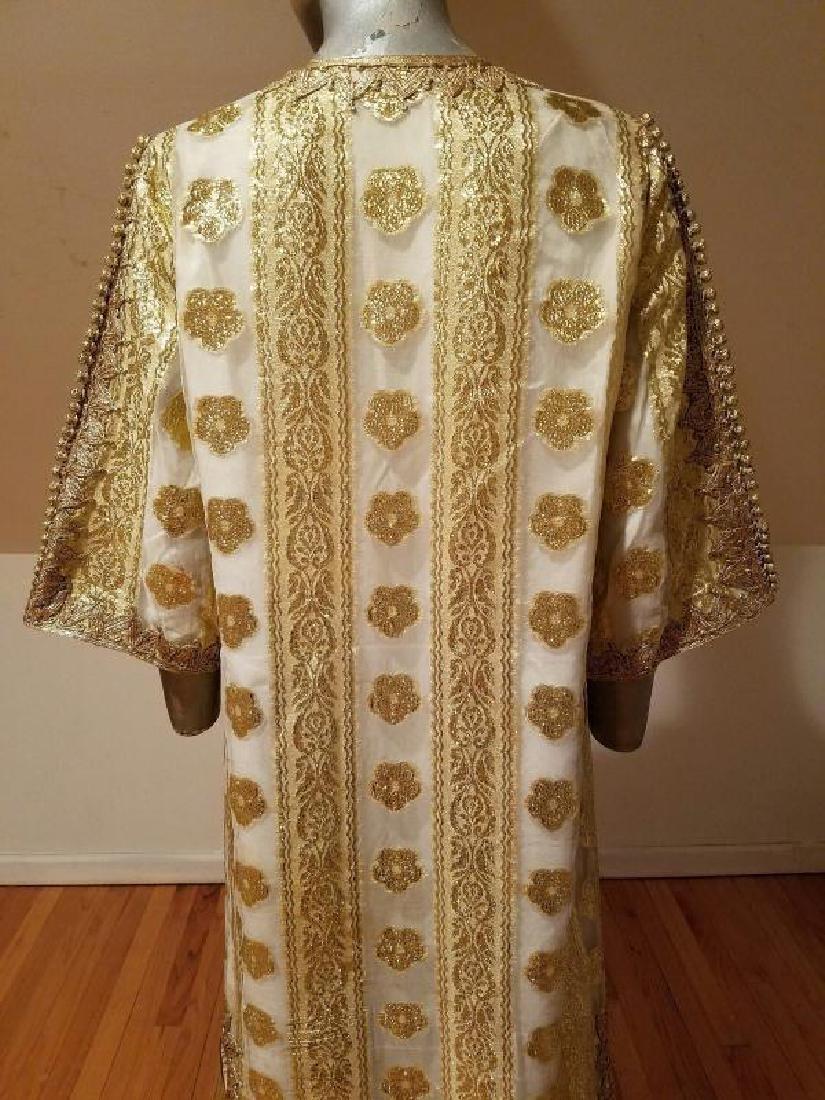 Vtg Gold Embroidered voile Kaftan & sleeveless dress - 10