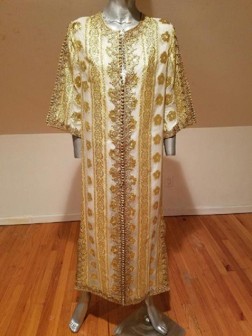 Vtg Gold Embroidered voile Kaftan & sleeveless dress - 2