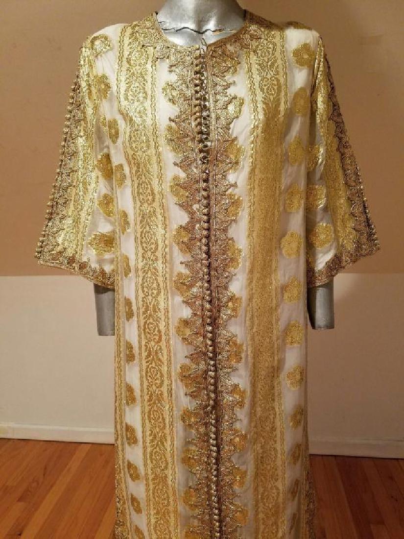 Vtg Gold Embroidered voile Kaftan & sleeveless dress - 3