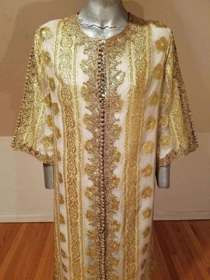 Vtg Gold Embroidered voile Kaftan & sleeveless dress - 4