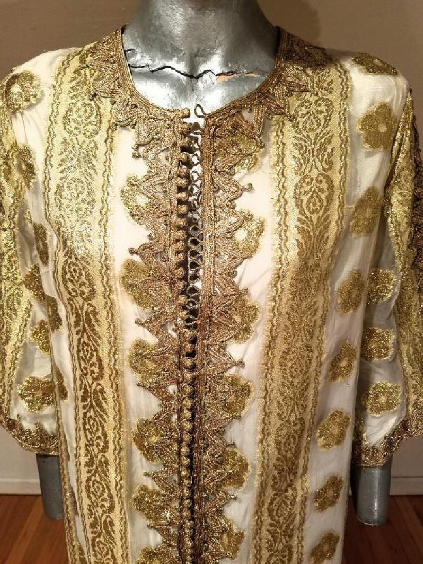 Vtg Gold Embroidered voile Kaftan & sleeveless dress - 5