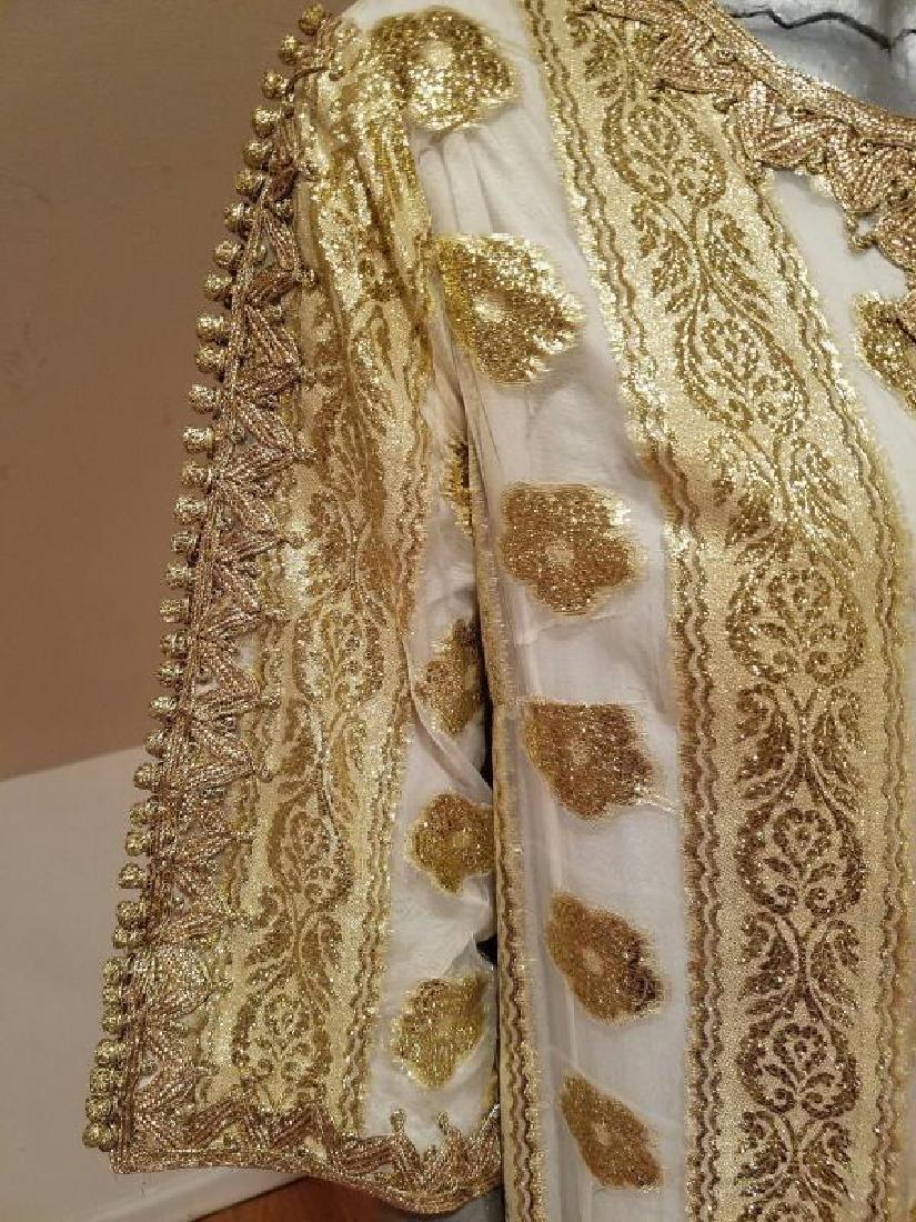Vtg Gold Embroidered voile Kaftan & sleeveless dress - 6