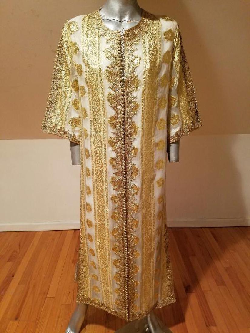 Vtg Gold Embroidered voile Kaftan & sleeveless dress - 7