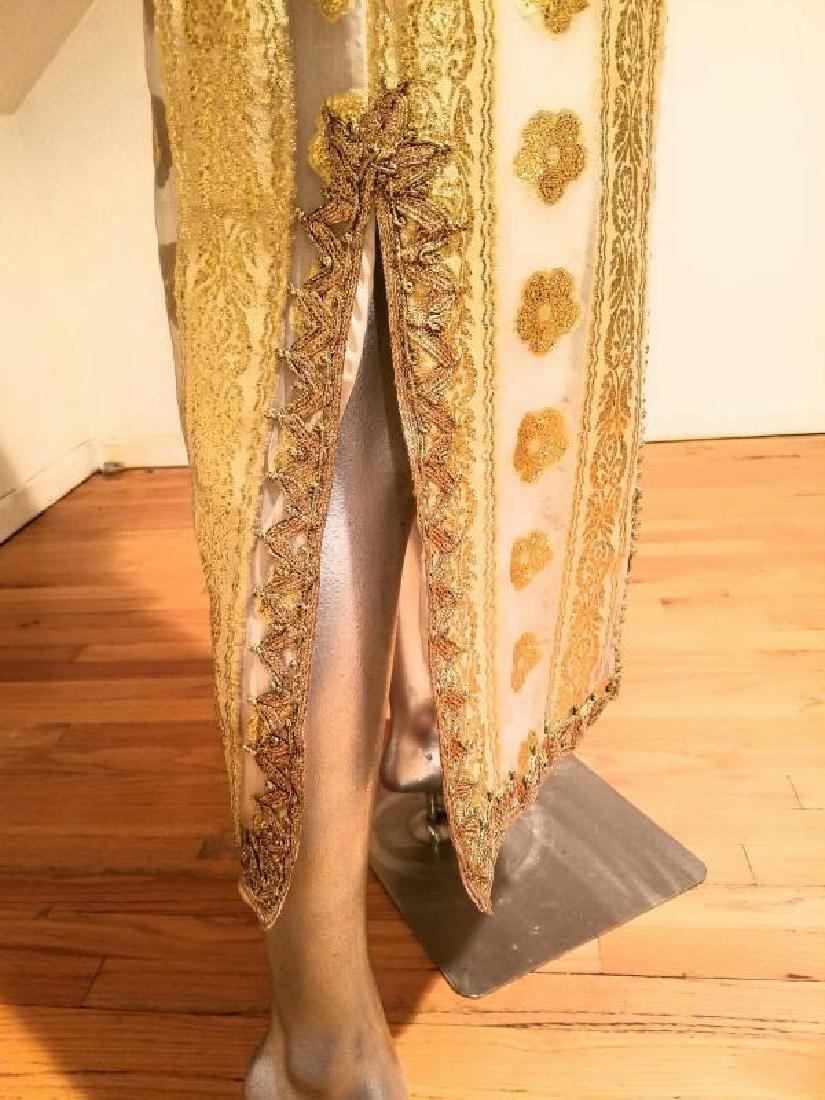 Vtg Gold Embroidered voile Kaftan & sleeveless dress - 8