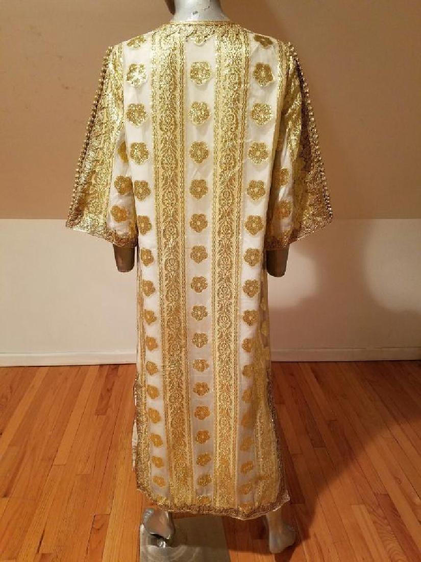 Vtg Gold Embroidered voile Kaftan & sleeveless dress - 9