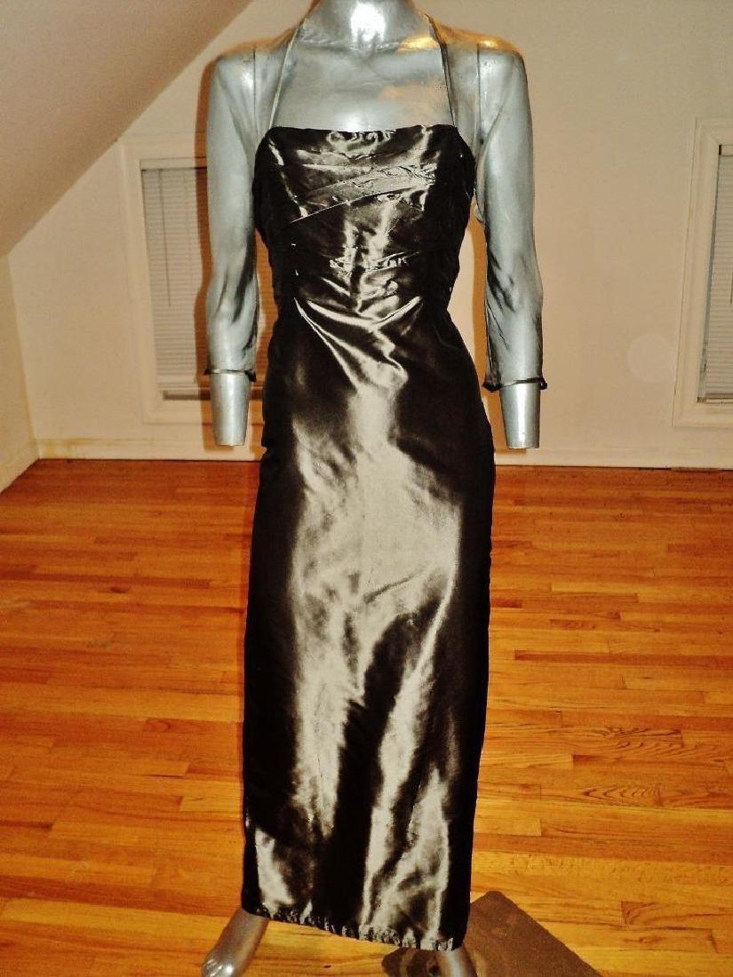 Vintage Pamela Dennis silk Couture Gown Metallic gun