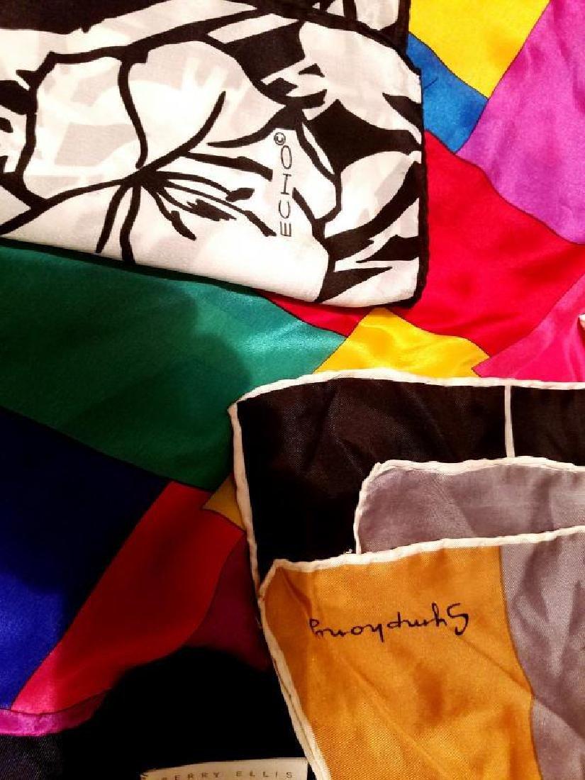 Vintage Lot of 8 silk Designer signed Scarfs - 8